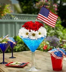 Cheers to the Red, White and Blue Flower Power, Florist Davenport FL