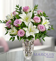 Marquis by Waterford Purple Rose & Lily Bouquet Flower Power, Florist Davenport FL