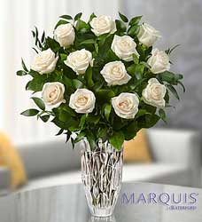 Marquis by Waterford - Premium White Roses Flower Power, Florist Davenport FL