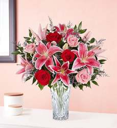 Marquis by Waterford Blushing Rose & Lily Bouquet Flower Power, Florist Davenport FL