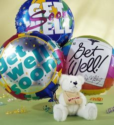 Get Well Bear and Balloon Bouquet Flower Power, Florist Davenport FL