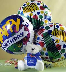 Birthday Bear And Balloons Flower Power Florist Davenport FL