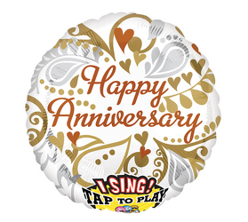 Happy Anniversary Singing Balloon Flower Power, Florist Davenport FL