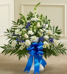 Heartfelt Tribute - Blue and White Flower Power, Florist Davenport FL