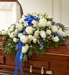 Cherished Memories Half Casket Cover-Blue & White Flower Power, Florist Davenport FL
