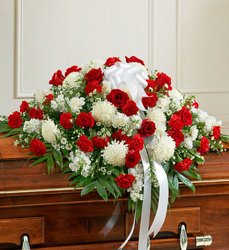 Cherished Memories Half Casket Cover-Red & White Flower Power, Florist Davenport FL