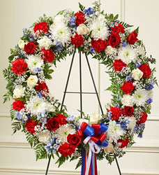 Serene Blessings Standing Wreath - Patriotic Flower Power, Florist Davenport FL