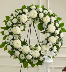 Serene Blessings Standing Wreath - White Flower Power, Florist Davenport FL
