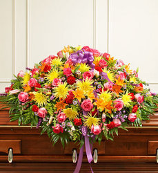 Cherished Memories Full Casket - Bright Flower Power, Florist Davenport FL