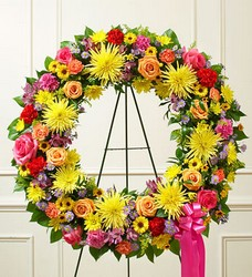 Serene Blessings Standing Wreath - Bright Flower Power, Florist Davenport FL