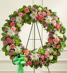 Serene Blessings Standing Wreath - Pastel Flower Power, Florist Davenport FL