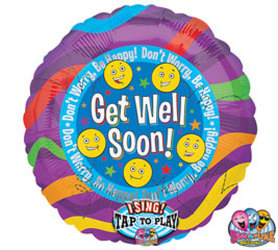 Get Well Soon Singing Mylar Flower Power, Florist Davenport FL