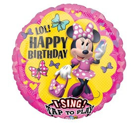 Minnie Mouse Singing Birthday Balloon Flower Power, Florist Davenport FL