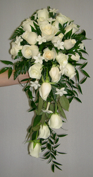 All white cascade bouquet Flower Power, Florist Davenport FL