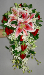 Stargazer and Rose Cascade Bouquet Flower Power, Florist Davenport FL