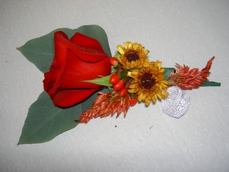 Fall Rose Boutonniere Flower Power, Florist Davenport FL