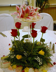 Rose and Stargazer Centerpiece Flower Power, Florist Davenport FL