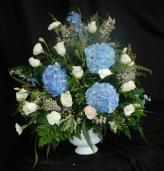 True Blue Pedestal Arrangement Flower Power, Florist Davenport FL