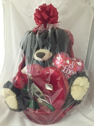 Valentines Large Plush Chocolate Basket Flower Power, Florist Davenport FL