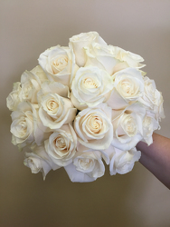 Eighteen White Rose Bouquet Flower Power, Florist Davenport FL