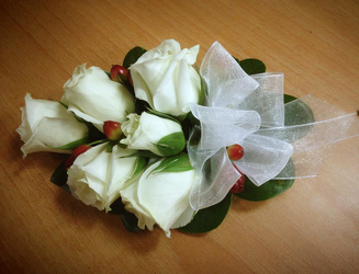 White Rose and Hypericum Corsage Flower Power, Florist Davenport FL