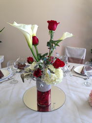 Rose and Calla Centerpiece Flower Power, Florist Davenport FL