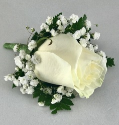 White Ice Rose Boutonniere Flower Power, Florist Davenport FL