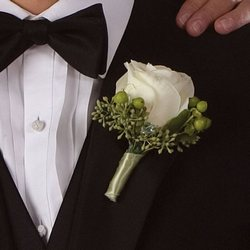 White and Green Boutonniere Flower Power, Florist Davenport FL