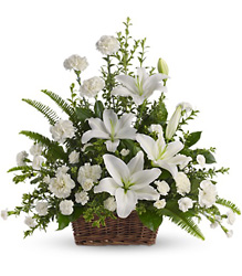 Peaceful White Lilies Basket Flower Power, Florist Davenport FL