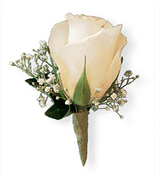 White Rose and Baby's Breath Boutonniere Flower Power, Florist Davenport FL